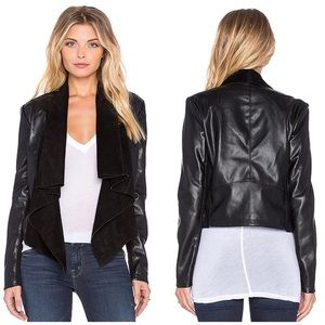 Blank NYC Drape Front Leather Suede Moto Jacket